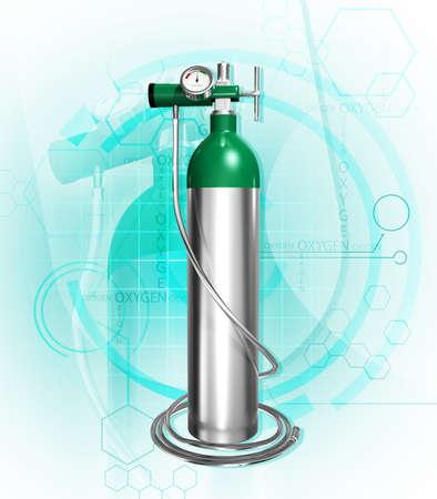 zylinder: Digital Illustration der Sauerstoffflasche in Farbe Hintergrund