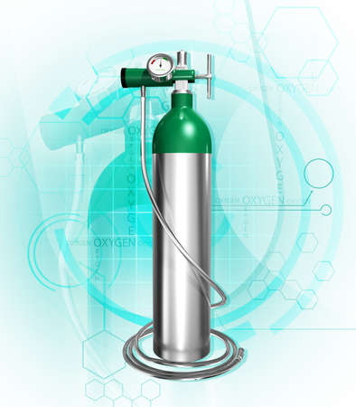 cilindro de gas: Ilustraci�n digital de cilindro de ox�geno en el fondo de color Foto de archivo