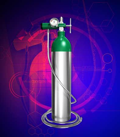 pressure bottle: Digital illustration of  oxygen cylinder  in colour background