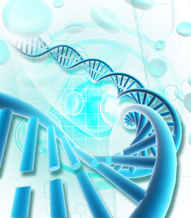 Digital illustration of  a dna in colour background  illustration