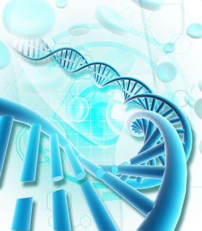 Digital illustration of  a dna in colour background  illustration