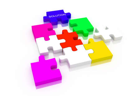 organised group: Digital illustration of puzzle in white background