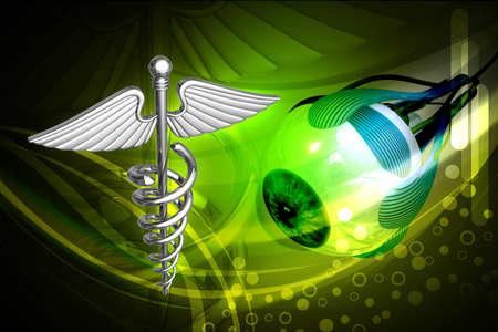 Digital illustration of medical sign in white background illustration