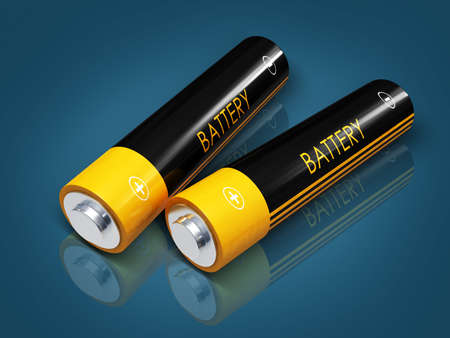 Digital illustration of battery in colour background illustration