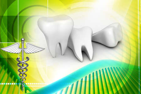 Digital illustration of teeth in digital background