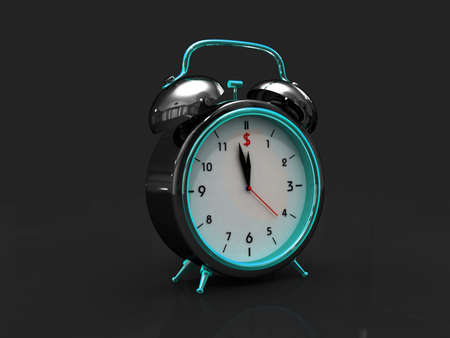 Digital illustration of old alarm clock in colour background illustration