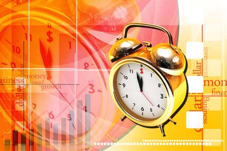 12 o'clock: Digital illustration of old alarm clock in colour background