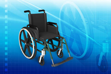 Digital illustration of Wheel chair in colour background Stock Illustration - 21047906