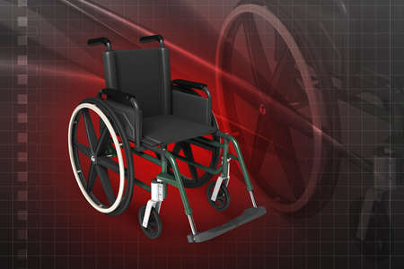 Digital illustration of Wheel chair in colour background Stock Illustration - 21047908