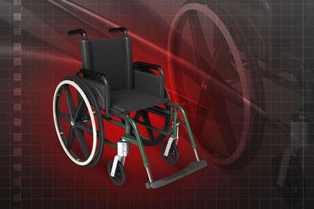 Digital illustration of Wheel chair in colour background Stock Illustration - 21047908