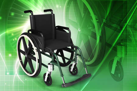 Digital illustration of Wheel chair in colour background Stock Illustration - 21047183