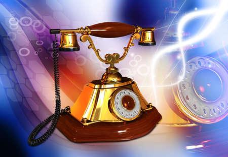 Digital illustration of telephone in colour background Stock Illustration - 21047213
