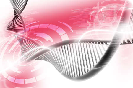 Digital illustration of  a dna in white background  Banco de Imagens