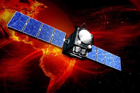 Digital illustration of satellite in digital background illustration