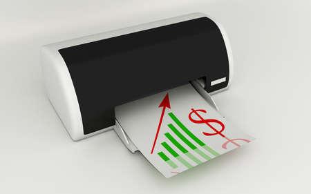 Digital illustration of dollar and printer in colour background illustration