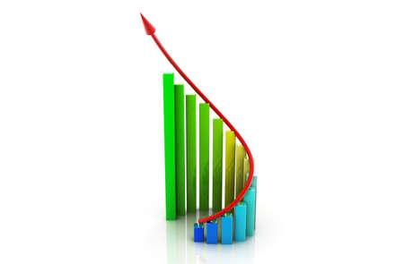 Digital illustration of business graph in white background illustration