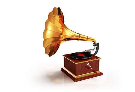 gramaphone: Retro gramophone render isolated on white background