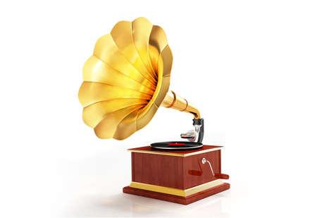 Retro gramophone render isolated on white background