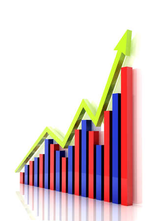 Business graph with growth arrow photo