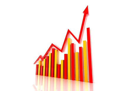 analyst: Business graph with growth arrow Stock Photo