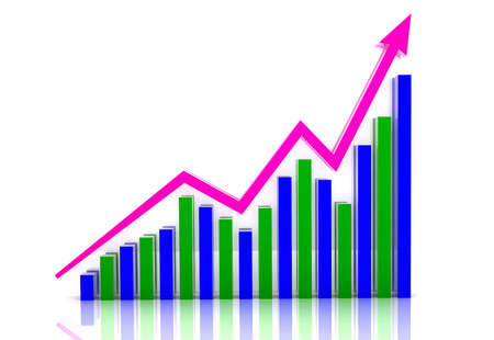commercial activity: Digital illustration of Business growth in white background