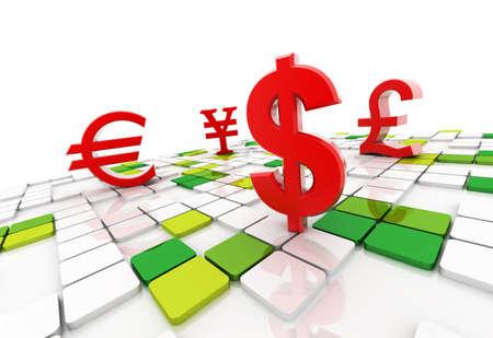 Digital illustration of dollar yen euro pound in colour background Reklamní fotografie