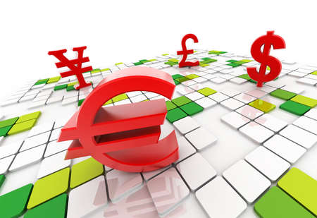 Digital illustration of dollar yen euro pound in colour background Stock Photo