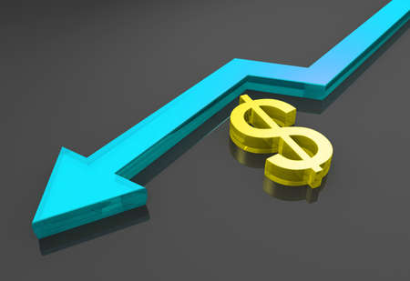 Business graph with growth arrow and dollar photo