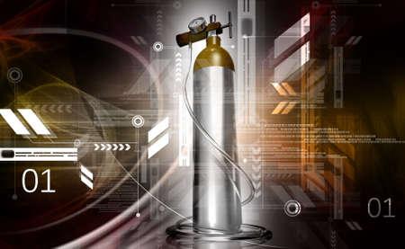 compressed air: digital illustration of a oxygen cylinder in white background