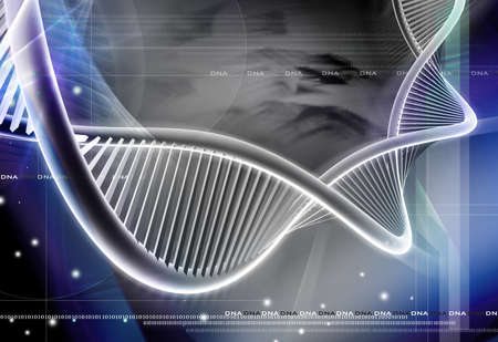 clone: Digital illustration of a dna in colour background Stock Photo