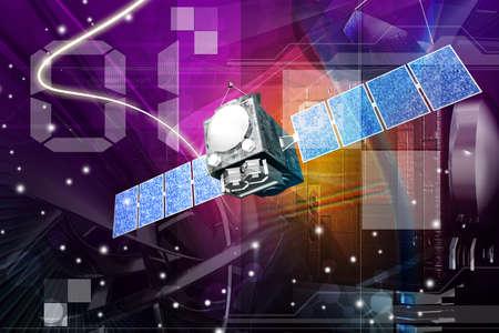 ilustración digital de satélite en fondo digital
