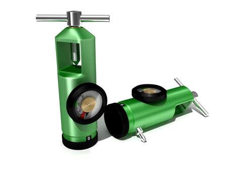 compressed air: oxygen regulator in colour background
