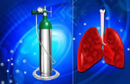 compressed gas: digital illustration of a oxygen cylinder and lungs in colour background