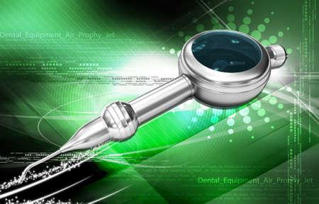 polisher: Digital illustration of a Dental Air Polisher Handpiece in colour background