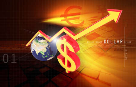 Digital illustration of dollar and magnet in colour background illustration