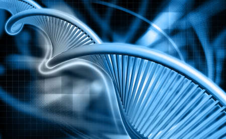 genetically: Digital illustration of a dna in colour background Stock Photo