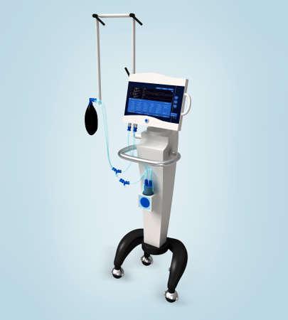 Digitale Illustration von medizinischen Krankenhaus Ventilator Atemwege Einheit System in digitale Hintergrund Standard-Bild - 22423858