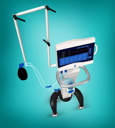 ventilator: digital illustration of medical hospital ventilator respiratory unit system in digital background Stock Photo