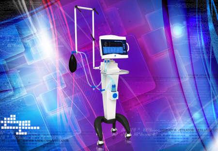 medical ventilator: digital illustration of medical hospital ventilator respiratory unit system Stock Photo