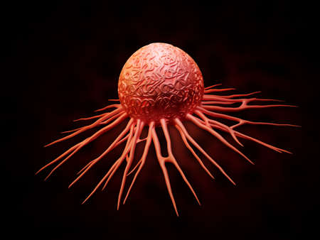 migrating cell: Digital illustration of cancer cell in colour