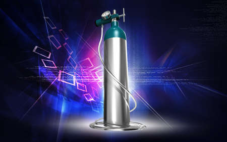 compressed air: oxygenCylinder and regulator in digital background Stock Photo