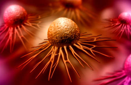 色の背景で癌細胞のデジタル イラストレーション 写真素材