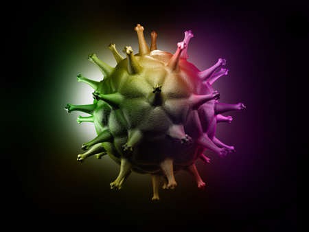 sexual reproduction: Digital illustration of HIV Cell in colour background Stock Photo