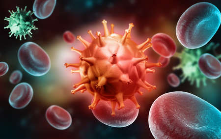 Digital illustration of HIV Cell and Blood Cell