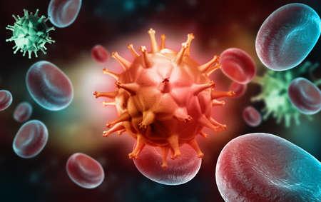 Digital illustration of HIV Cell and Blood Cell Reklamní fotografie - 22886278