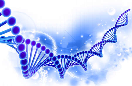 Digital illustration of a dna in colour background Stock Photo