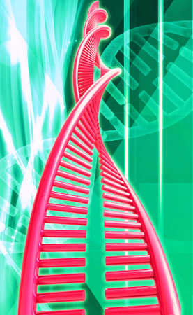 raytrace: Digital illustration of a dna in digital background