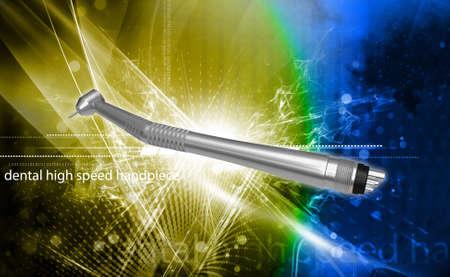 collet: Digital illustration of a dental handpiece in colour background