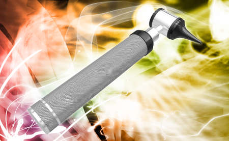 opthalmascope: Digital illustration of otoscope in white background Stock Photo