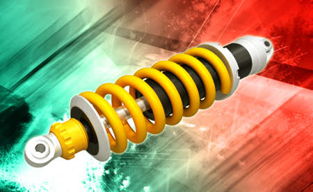 Digital illustration of shock absorber in colour background Stock Illustration - 23814809